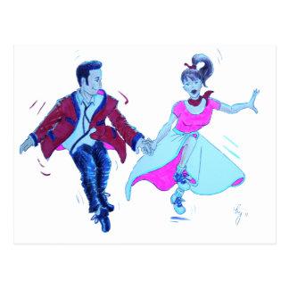 swing dancer pink poodle skirt saddle shoes postcard