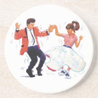 swing dancer poodle skirt & saddle shoes drink coasters