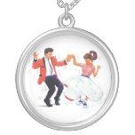 swing dancer poodle skirt & saddle shoes necklaces