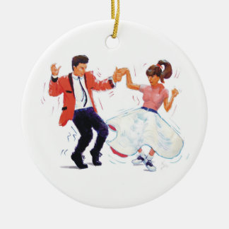 swing dancer poodle skirt & saddle shoes Double-Sided ceramic round christmas ornament