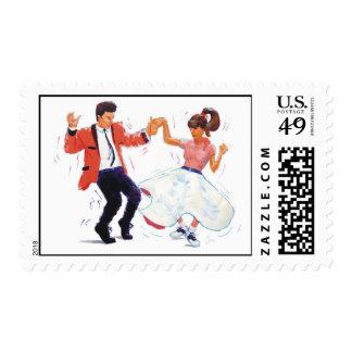 swing dancer poodle skirt & saddle shoes postage stamps