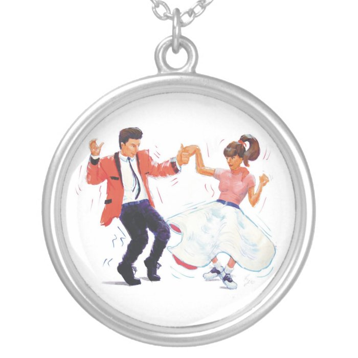 swing dancer poodle skirt & saddle shoes silver plated necklace