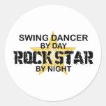 Swing Dancer Rock Star by Night Classic Round Sticker