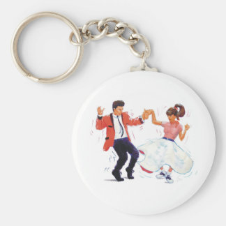 swing dancer with poodle skirt and saddle shoes basic round button keychain