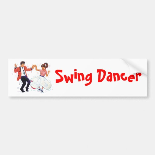 swing dancer with poodle skirt and saddle shoes bumper sticker