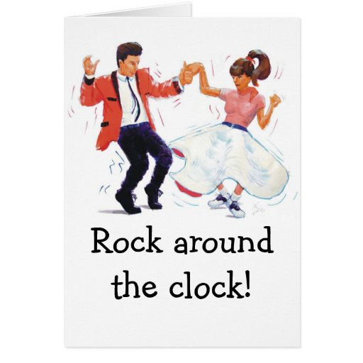 swing dancer with poodle skirt and saddle shoes card