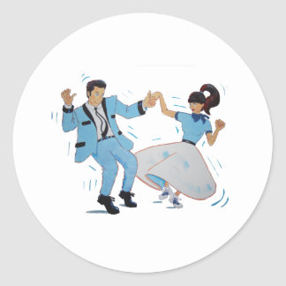 swing dancer with poodle skirt and saddle shoes classic round sticker