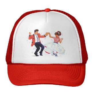 swing dancer with poodle skirt and saddle shoes trucker hat