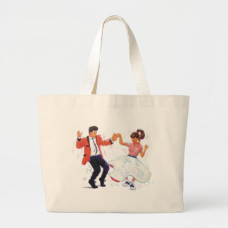 swing dancer with poodle skirt and saddle shoes large tote bag