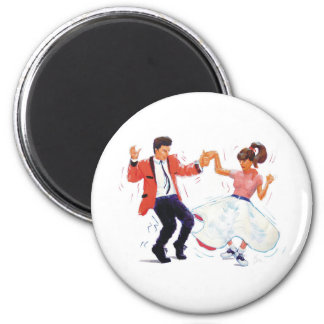 swing dancer with poodle skirt and saddle shoes magnet