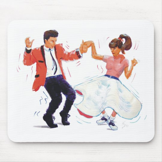 swing dancer with poodle skirt and saddle shoes mouse pad