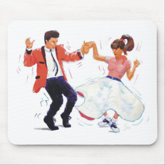 swing dancer with poodle skirt and saddle shoes mousepad