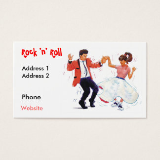swing dancer with poodle skirt and saddle shoes po business card