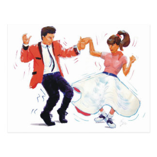 swing dancer with poodle skirt and saddle shoes postcard