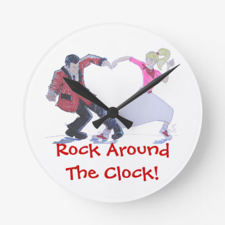 swing dancer with poodle skirt and saddle shoes round clock
