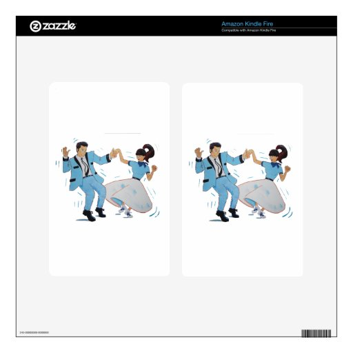 swing dancer with poodle skirt and saddle shoes decals for kindle fire