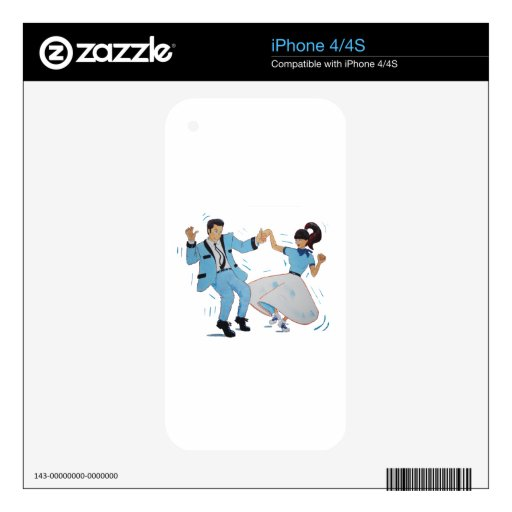 swing dancer with poodle skirt and saddle shoes decal for iPhone 4