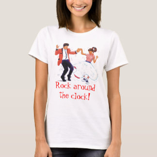 swing dancer with poodle skirt and saddle shoes T-Shirt