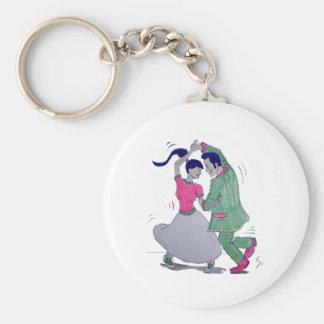 swing dancers basic round button keychain