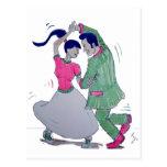 swing dancers postcard