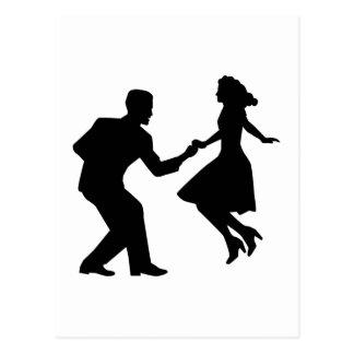 Swing dancing postcard