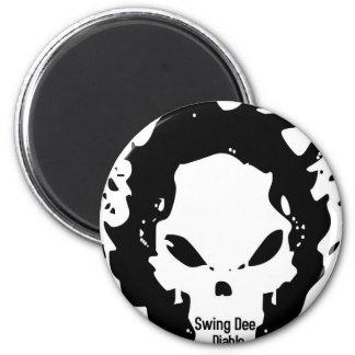 """Swing Dee Diablo""""Fire Skull""""Logo 2 Inch Round Magnet"""