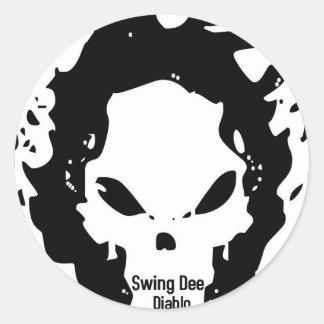 """Swing Dee Diablo""""Fire Skull""""Logo Classic Round Sticker"""