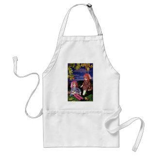 Swing dolls in colorful dresses aprons