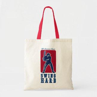 Swing Hard Baseball Tote Bags