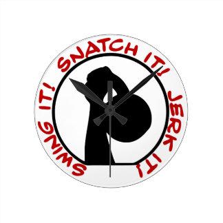 Swing It! Snatch It! Jerk It! Classic Round Clock