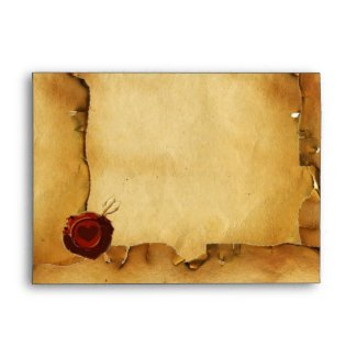 SWING, RED WAX SEAL PARCHMENT green blue yellow envelope