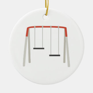 Swing Set Double-Sided Ceramic Round Christmas Ornament