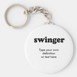 SWINGER BASIC ROUND BUTTON KEYCHAIN