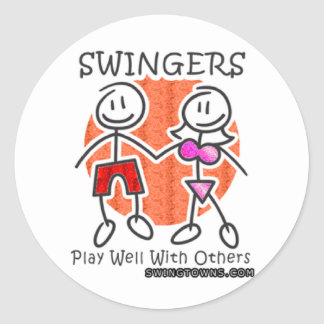 Swingers Play Well Together Classic Round Sticker