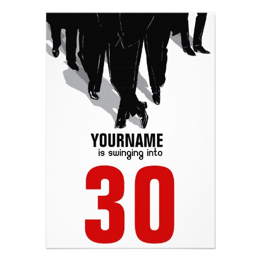 Swingers Rat Pack 30th Birthday Party Custom Announcements
