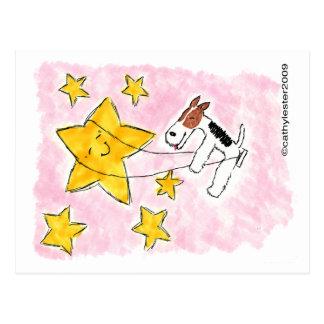 Swingin del fox terrier del alambre en una tarjetas postales
