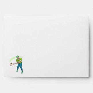 Swinging bat baseball player envelopes