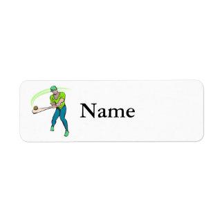 Swinging bat baseball player label