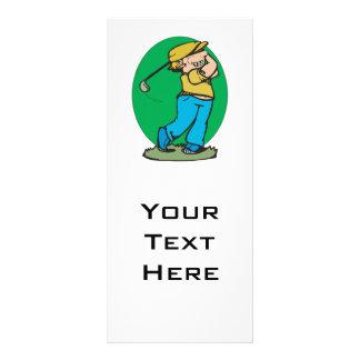 swinging golf club golfer graphic rack card