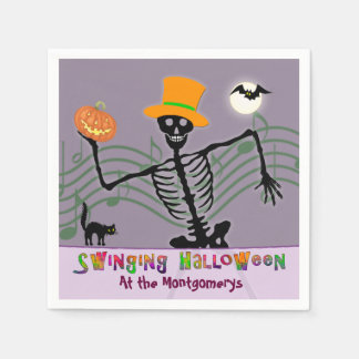 Swinging Halloween Party Skeleton Napkin