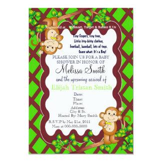 Swinging Monkey Baby Shower Invitation - Green