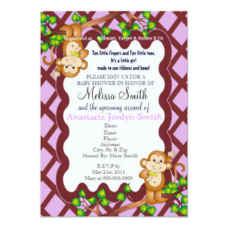 Swinging Monkey Baby Shower Invitation - Purple