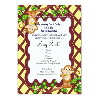 Swinging Monkey Baby Shower Invitation - Yellow