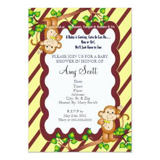 Swinging Monkey Baby Shower Invitation - Yellow