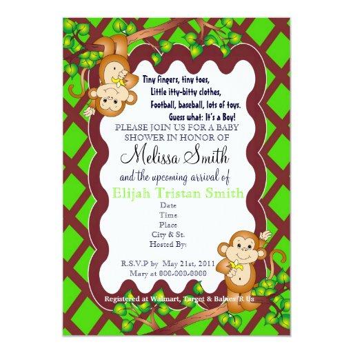 swinging monkey baby shower invitations zazzle