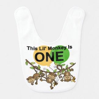 Swinging Monkeys 1st Birthday Bib