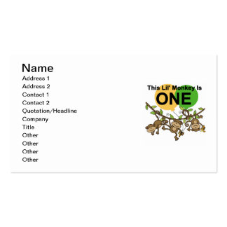 Swinging Monkeys 1st Birthday t shirts and Gifts Double-Sided Standard Business Cards (Pack Of 100)