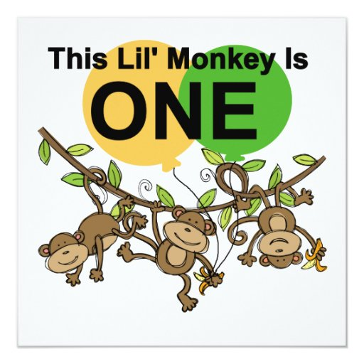 Swinging Monkeys 1st Birthday t shirts and Gifts 5.25x5.25 Square Paper Invitation Card