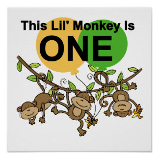 Swinging Monkeys 1st Birthday t shirts and Gifts Poster