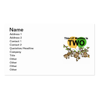 Swinging Monkeys 2nd Birthday T-shirts and Gifts Business Card Templates